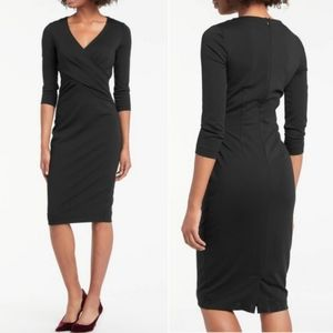 Boden Connie Ponte Black Classy Midi Dress 6 Long